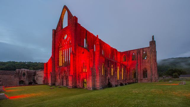 Tintern Abbey goes red for Wales  #Euro16
